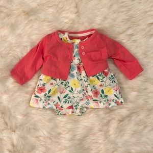 Other - Floral dress with coral cardigan